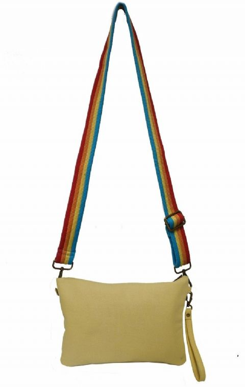 BS-6662L Bolso para señora color amarillo con asa multicolor